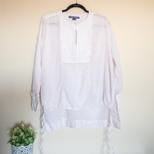 French Connection Pink & White Striped Blouse - S